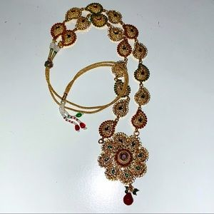 Traditional long Indian necklace (+ free pouch)